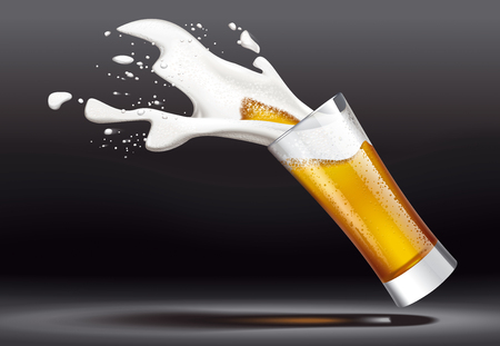 Beer and splashes of foam on dark background