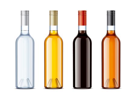 Blank bottles for alcohol drinks