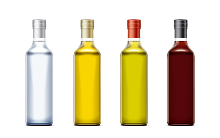 Bottles of mockups for oil and other foods. Cork cap version. Small size