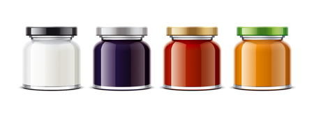 Clear Jar mockup for dairy foods, confiture and sauces. Small size Stok Fotoğraf