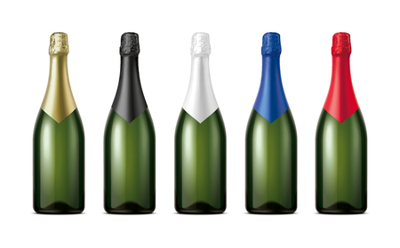 Bottles of Champagne. Version with Dark Green Glass. Stock Photo