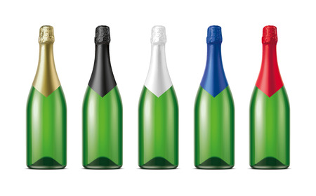 Bottles of Champagne. Version with Green Glass.