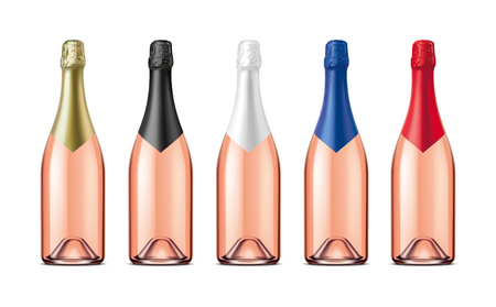 Bottles of Champagne. Version with Rose Wine.