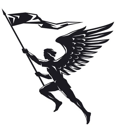Angel with flag Illusztráció