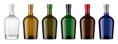 Colored glass bottles mockup. With cork version Stock fotó