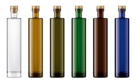 Colored glass bottles mock-up