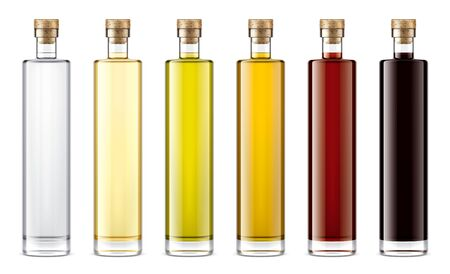 Glass bottles mock-up for oil and sauces
