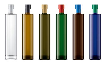 Colored glass bottles mock-up. Foil version