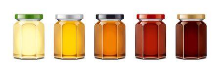 Glass honey jar mock-up. Foto de archivo - 130011157