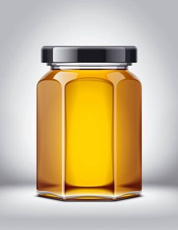 Glass honey jar mock-up. Foto de archivo - 130011155