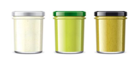Set of Glass Jar with Sauces, Wasabi, Horseradish, Mustard. Reklamní fotografie