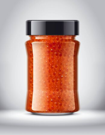 Glass Jar with Caviar on Background.