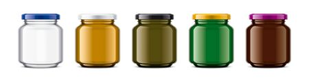 Set of Colored Glass Jar. Reklamní fotografie
