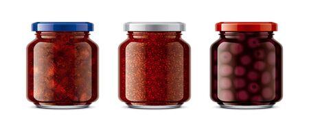 Set of Glass Jar with Jam