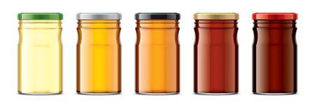 Set of Glass Jar with Honey. Reklamní fotografie