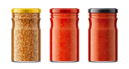 Set of Glass Jar with Sauces, Mustard and other. Reklamní fotografie