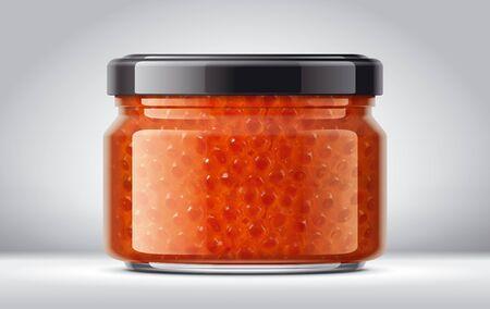 Glass Jar with Caviar on Background. Glass Jar with Honey on Background.
