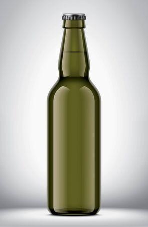 Glass beer bottle on background