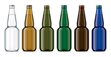 Set of colored glass bottles