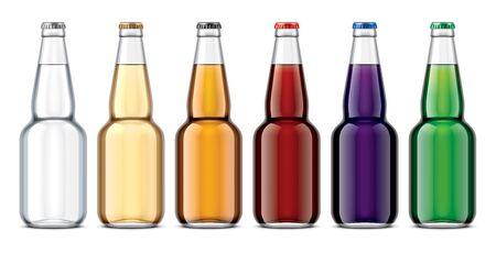 Set of Glass bottles for juice or soda