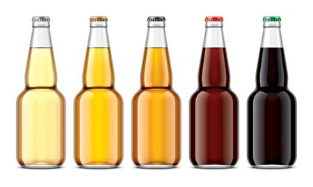 Set of Glass beer bottles Stok Fotoğraf - 130011821