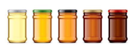 Set of Glass Jar with Honey. Фото со стока