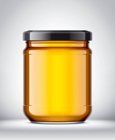 Glass Jar with Honey on Background.