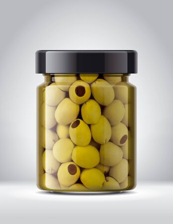 Glass Jar with Olives on Background.