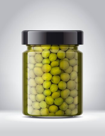 Glass Jar of canned Peas on Background. Banco de Imagens