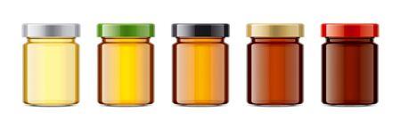 Set of Glass Jar with Honey. Banco de Imagens