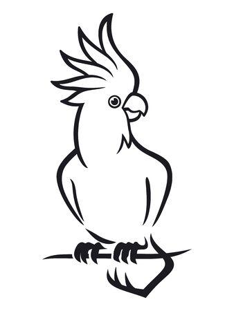 Papegaai Kaketoe zittend op een tak Vector Illustratie