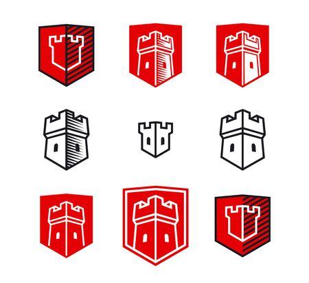 Tower on Shield. Set for emblem Illustration