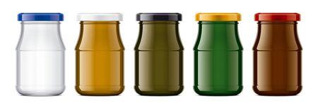 Set of Colored Glass Jar. Banco de Imagens