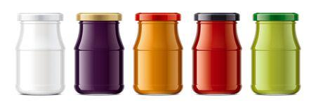 Set of Glass Jar Mockup. Banco de Imagens