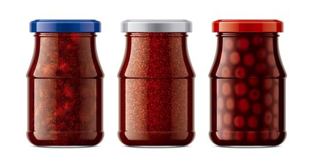 Set of Glass Jar with Jam.