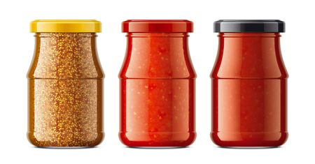 Set of Glass Jar with Sauces, Mustard.