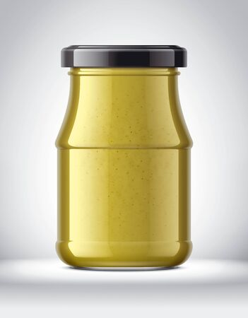 Glass Jar with Mustard on Background.
