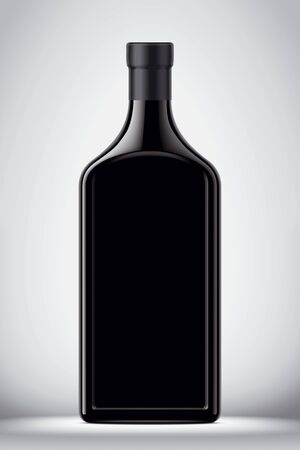 Glass bottle on gray background