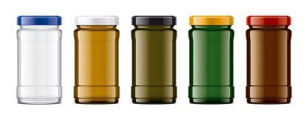 Set of Colored Glass Jar. 版權商用圖片