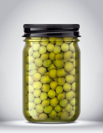 Glass Jar of canned Peas on Background. Stockfoto