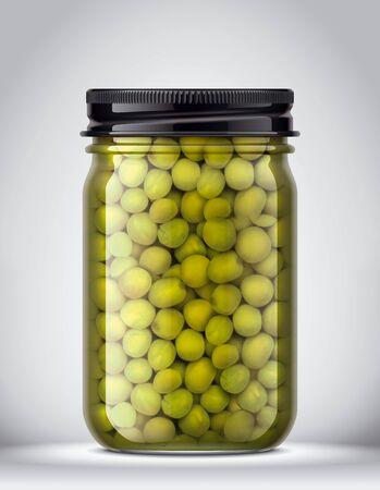 Glass Jar of canned Peas on Background. 版權商用圖片