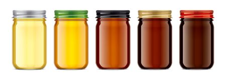 Set of Glass Jar with Honey. 版權商用圖片