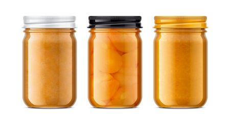 Set of Glass Jar with Jam. 版權商用圖片 - 131942045