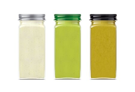 Set of Glass Jar with Sauces, Mustard, Wasabi, Horseradish.