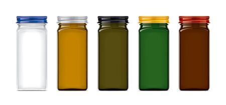 Set of Colored Glass Jar. Stockfoto