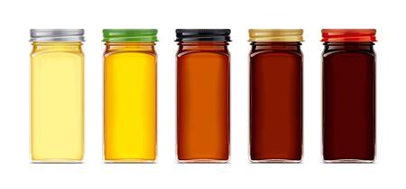 Set of Glass Jar with Honey. Stockfoto