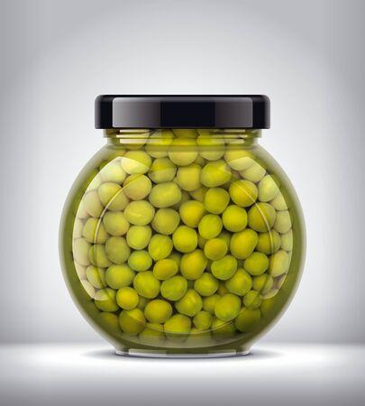Glass Jar of canned Peas on Background. Фото со стока