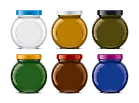 Set of Colored Glass Jar. Фото со стока