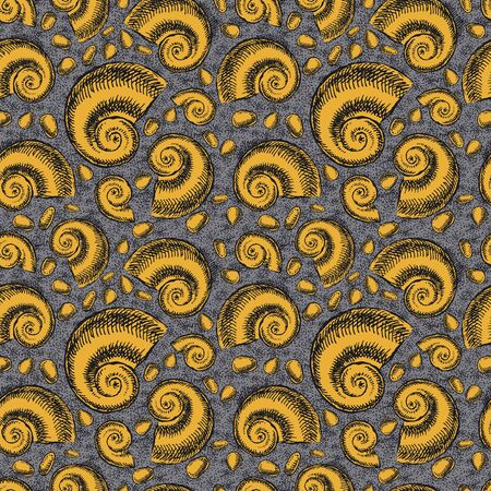 Endless background. The bottom of the ancient sea. Ammonites Foto de archivo - 134550389