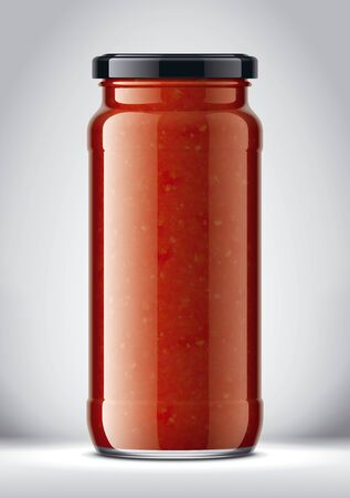 Glass Jar Mockup on Background with Tomato Sauce